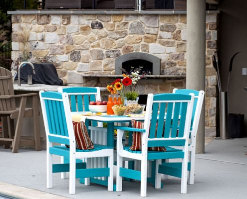 English Garden Poly Furniture Set - Turquoise - Alger Sheds