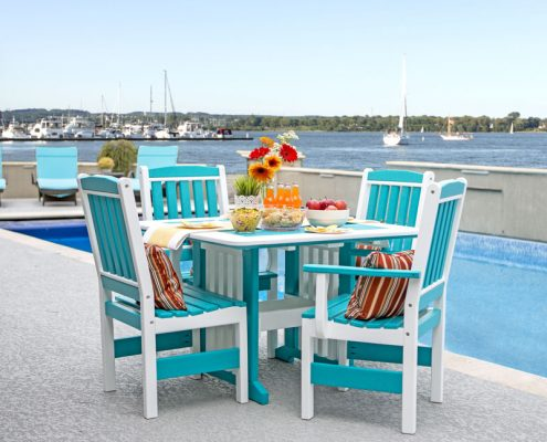 English Garden Poly Table - Turquoise - Alger Sheds