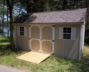 Beige Gable Shed with Custom Shutters and Ramp