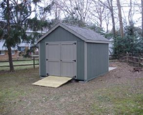 Gray Gable Shed with Ramp