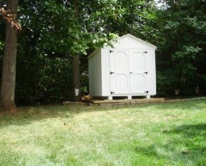 White Gable Shed on Risers