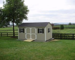 Gable Shed with Custom Shutters and Door