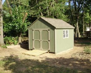 Green Gable Shed with Custom Doors