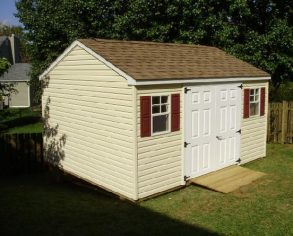 Gable Shed with Custom Shutters and Ramp
