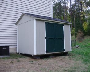 Gable Shed with Dark Doors