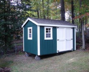 Teal Gable Shed with White Trim