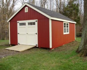 Red Gable Shed with Ramp